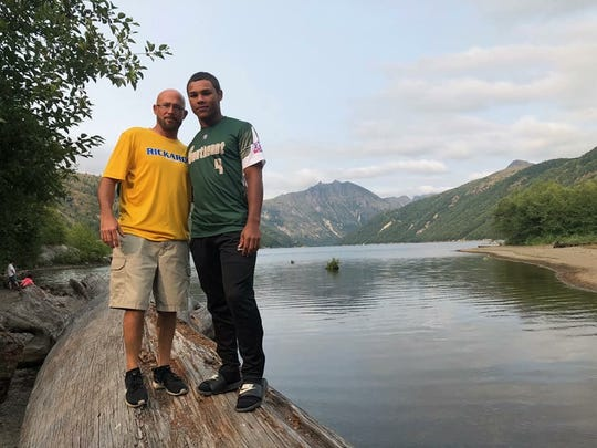 TLBR 15U coach Brian Kelley and player Will Brown, who both reside at Rickards, take in the scenery in Washington state.