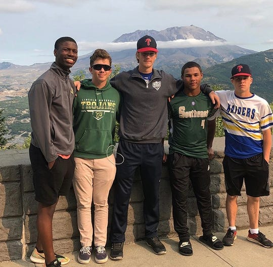 TLBR 15U players Argene Lynn, Jack Sturgis, A.J. Thorp, Will Brown, and Hayden Kelley enjoy Mount St. Helens during their trip to Washington state for the Babe Ruth World Series.