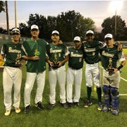 TLBR 15U coaches and players celebrate a Babe Ruth World Series title in Longview, Washington. From left: Cooper Smith, Ken Smith, James Keister, Brian Kelley, Lawrence Steed, and Hayden Kelley.