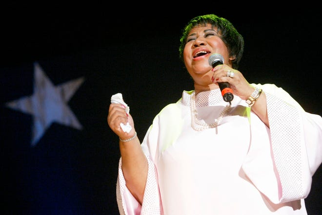 In this June 4, 2005 file photo, Aretha Franklin performs at the McDonald's Gospelfest 2005 in New York. The event celebrates gospel music and features a talent competition for choirs, steppers, praise dancers and soloists. Franklin died Thursday, Aug. 16, 2018 at her home in Detroit.  She was 76.