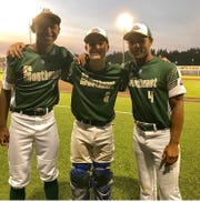 TLBR 15U players and Rickards teammates Lawrence Steed, Hayden Kelley and Will Brown celebrate a Babe Ruth World Series title in Longview, Washington.