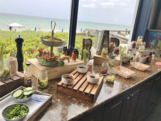 Kyle G's Bloody Mary Bar was stocked with regular or infused vodkas, spicy or less spicy mixes, horseradish, olives, bacon, chunks of pepperoni or cheese, pickles, and a variety of traditional and non-traditional condiments.