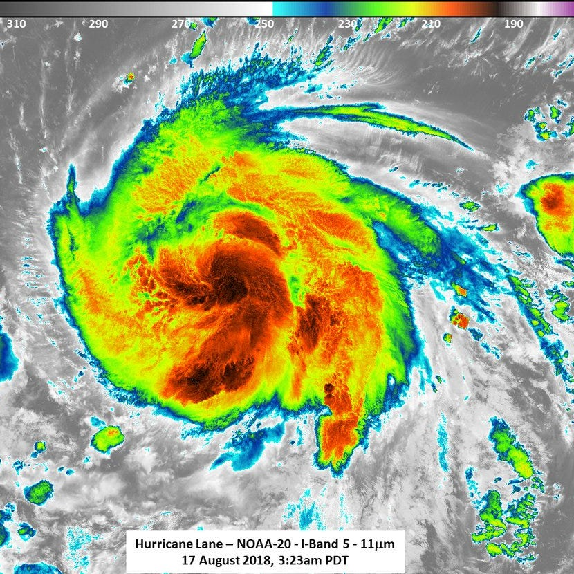Lane now a major hurricane with 120 mph winds, projected to grow stronger overnight