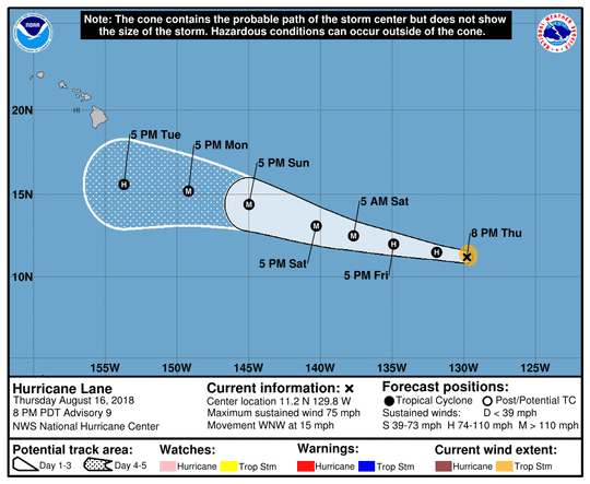 Projected path of Hurricane Lane as of 11 p.m. Thursday, Aug. 16, 2018.