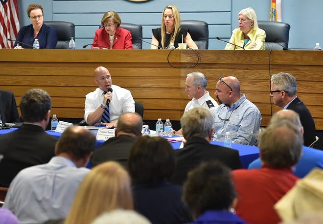 Congressman Brian Mast (from center left) talks with Col. Jason Kirk, U.S. Army Corps of Engineers, Ernie Marks, Executive Director of the South Florida Water Management District and Brandon Tucker, Governing Board Member, SFWMD, during a meeting at Stuart City Hall on Friday, August 17, 2018, in Stuart. The Army Corps of Engineers met with Mast to brief him on how Lake Okeechobee is managed while Mast proposes lowering the water level in the dry season, to prevent discharges to the St. Lucie and Caloosahatchee rivers. To see more photos, go to TCPalm.com.
