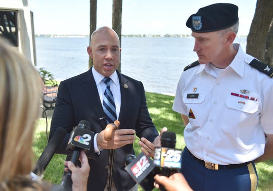 The U. S. Army Corps of Engineers met with Congressman Brian Mast at Stuart City Hall on Friday, August 17, 2018, for a public meeting to brief him on how Lake Okeechobee is managed.