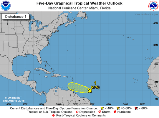 A tropical wave was about 600 miles east-southeast of the Windward Islands about 8 p.m. Thursday, Aug. 16, 2018.