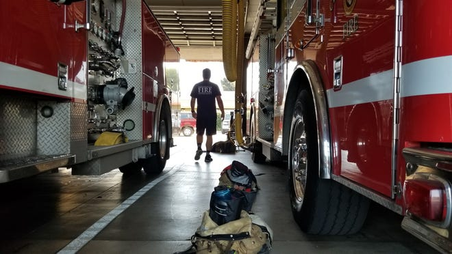 Ventura Fire Station No. 1 on North Ventura Avenue was the temporary home for Ventura's roving engine Monday.