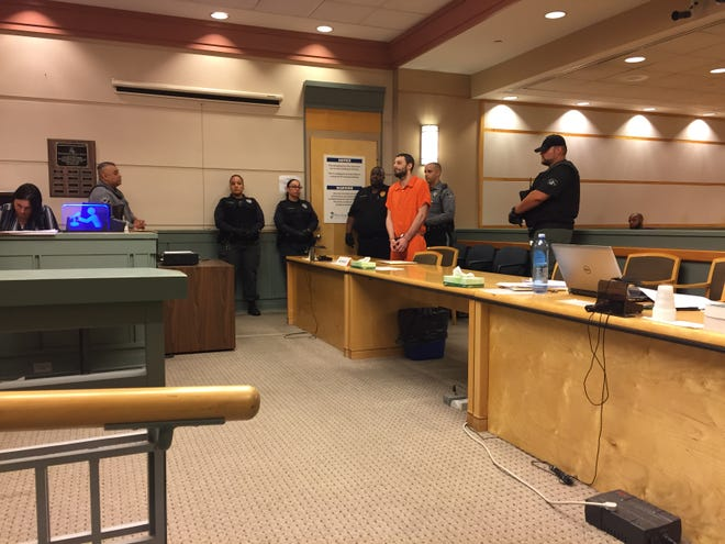 Murder defendant Jeremiah E. Monell, 33, was in Cumberland County Superior Court for another hearing in his case. Monell also was arraigned for allegedly attacking a corrections officer in jail in April. Four corrections officers hovered near him for the appearance.