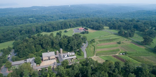 An aerial view, looking west over Stone Barns, is a portion of 346 acres of land donated by David Rockefeller to N.Y. State to expand Rockefeller State Park in Pocantico Hills on Friday, August 17, 2018.