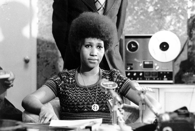 FILE - In this March 26, 1973 file photo, soul singer Aretha Franklin appears at a news conference. Franklin died Thursday, Aug. 16, 2018 at her home in Detroit.  She was 76. (AP Photo, File)