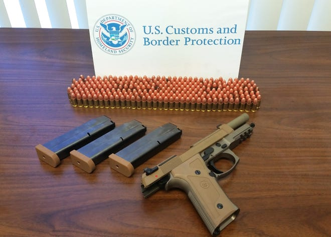 Federal authorities seized a handgun, three magazines and 247 rounds of ammunition during an outbound inspection at the Port of Wilmington, Delaware, July 26.