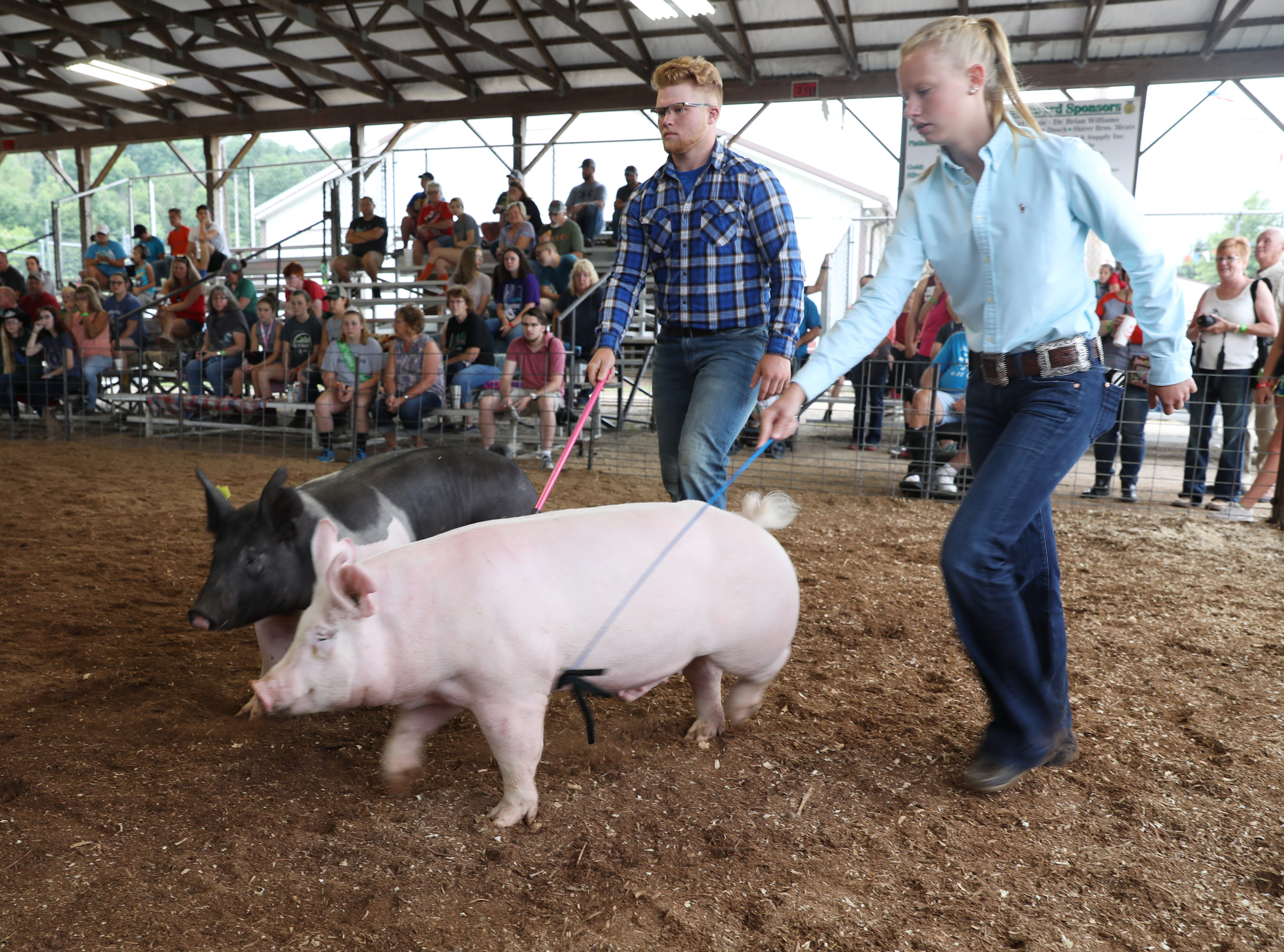 Kamryn Kreis and Tyler McKenzie show hogs during the Showman of Showmen competition at the Muskingum County Fair on Friday.