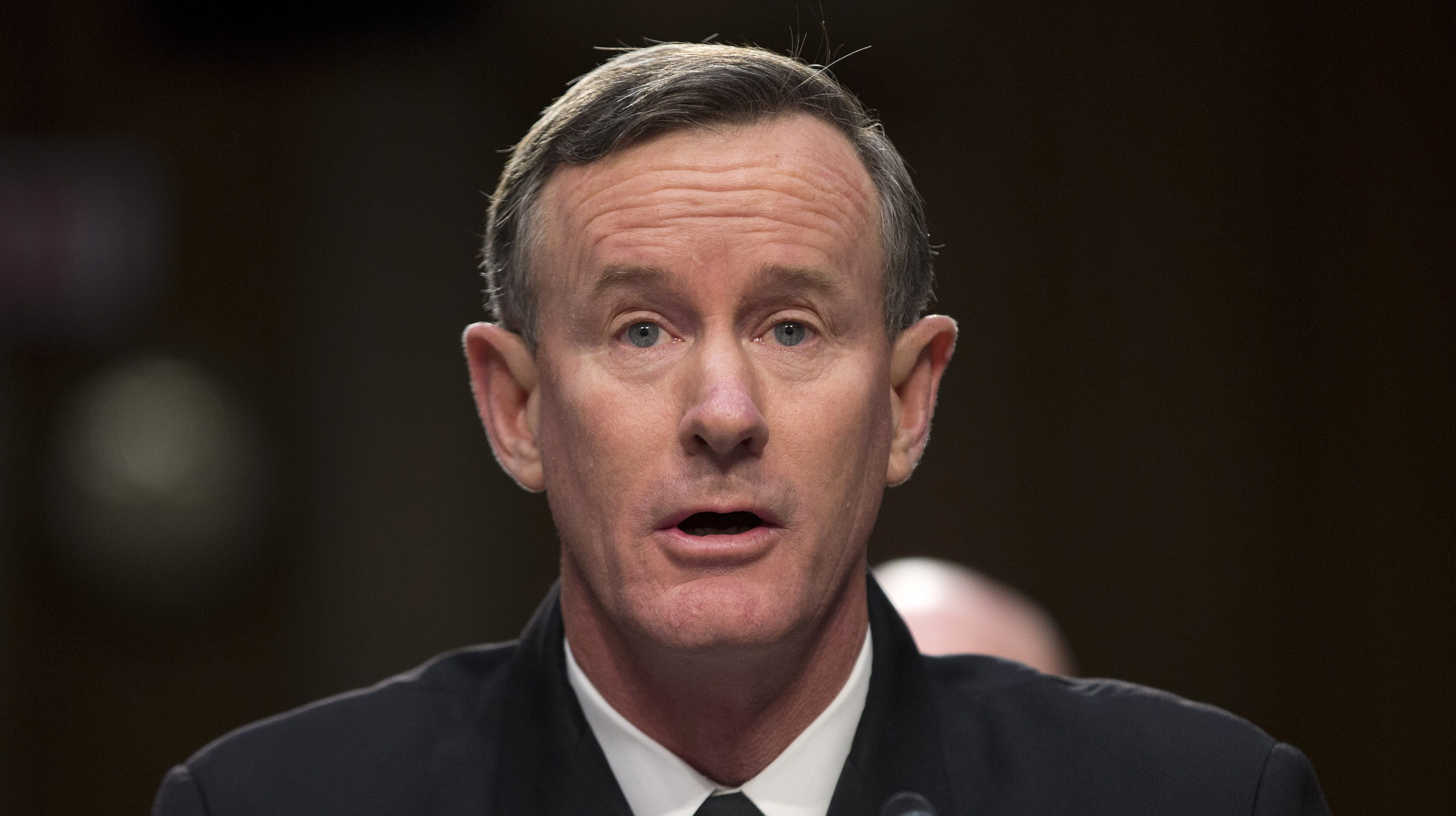 Navy Adm. William McRaven, commander, U.S. Special Operations Command, testifies on Capitol Hill in Washington, Tuesday, March 5, 2013, before the Senate Armed Services Committee.