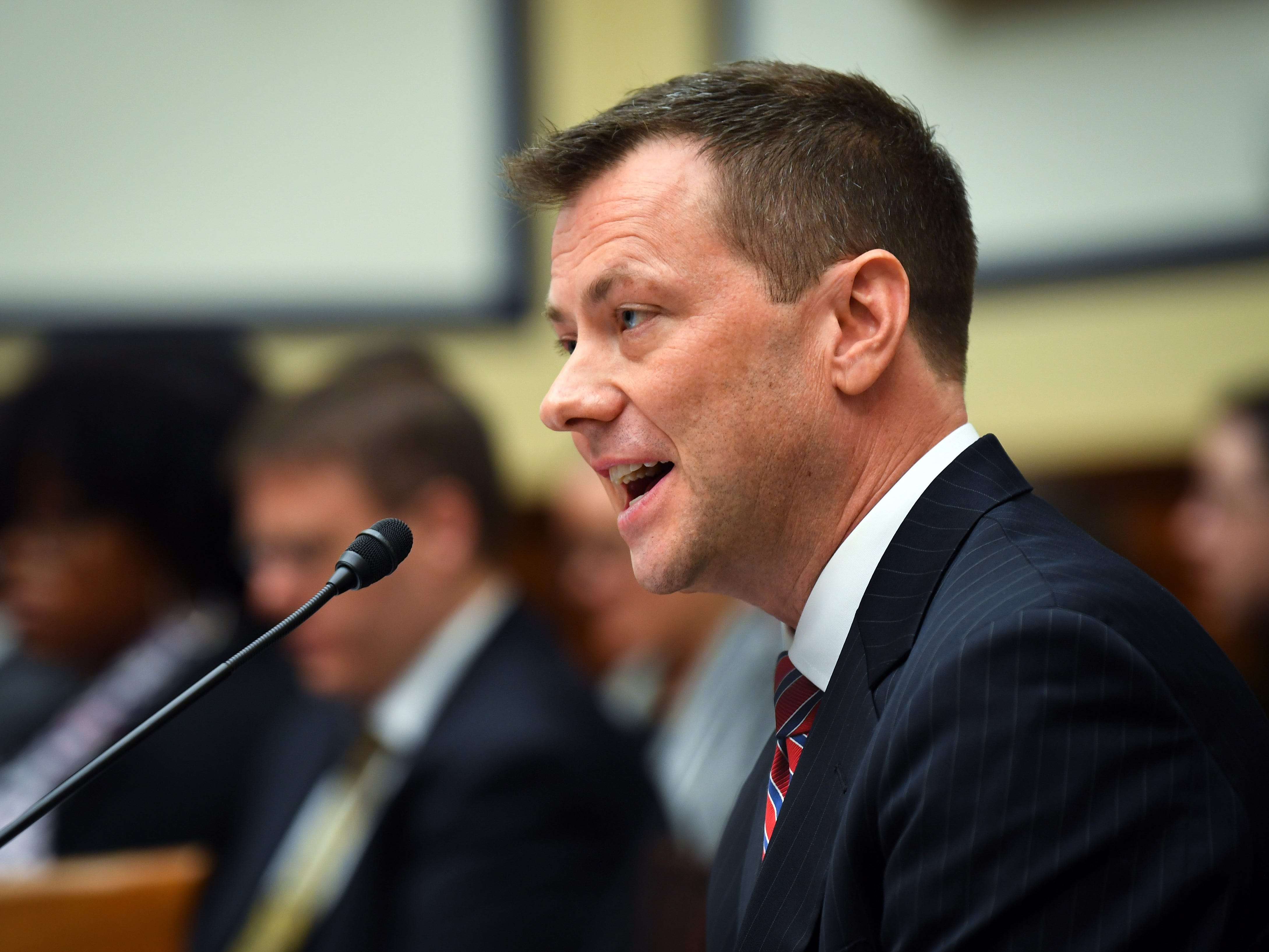 July 12, 2018; Washington, DC, USA; FBI Deputy Assistant Director Peter Strzok testifies before the House Committee on the Judiciary and House Committee on Oversight and Government Reform joint hearing on 'Oversight of FBI and DOJ Actions Surrounding the 2016 Election' on July 12, 2018 in Washington.  Mandatory Credit: Jack Gruber-USA TODAY ORIG FILE ID:  20180712_ajw_usa_080.jpg