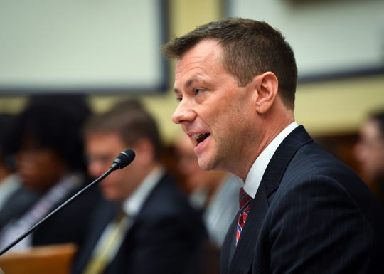 """FBI Deputy Assistant Director Peter Strzok testifies before a congressional panel on """"Oversight of FBI and DOJ Actions Surrounding the 2016 Election"""" on July 12, 2018, in Washington."""