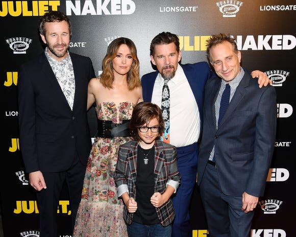 """From left, actors Chris O'Dowd, Rose Byrne, Azhy Robertson, Ethan Hawke and director Jesse Peretz attend the """"Juliet, Naked"""" New York Premiere at Metrograph on Aug. 14, 2018, in New York City."""