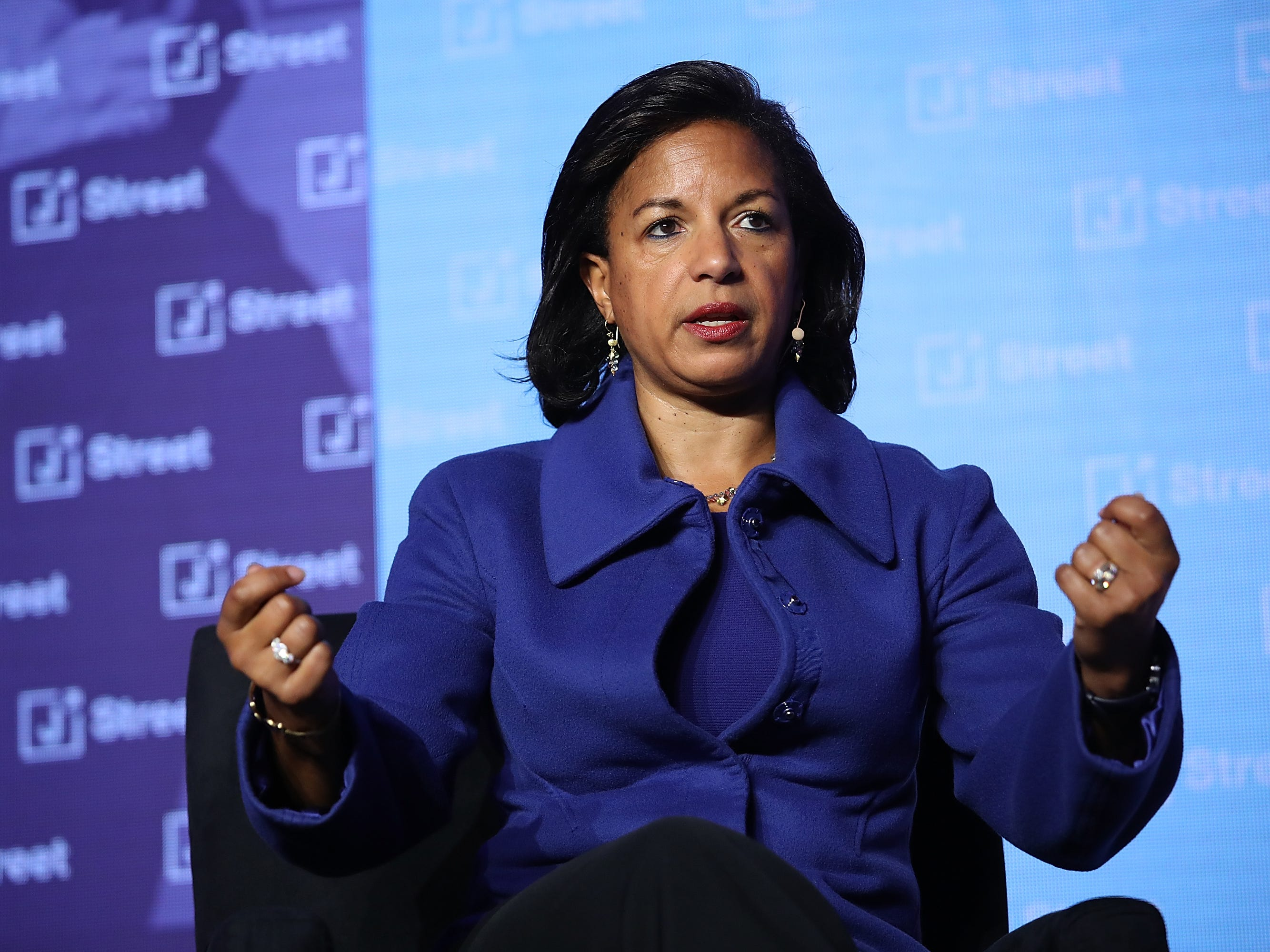 "WASHINGTON, DC - APRIL 16:  Former National Security Advisor Susan Rice speaks at the J Street 2018 National Conference April 16, 2018 in Washington, DC. Rice spoke on the topic of ""The Dangers of U.S. Foreign Policy Under Trump"".  (Photo by Win McNamee/Getty Images) ORG XMIT: 775154119 ORIG FILE ID: 947143588"
