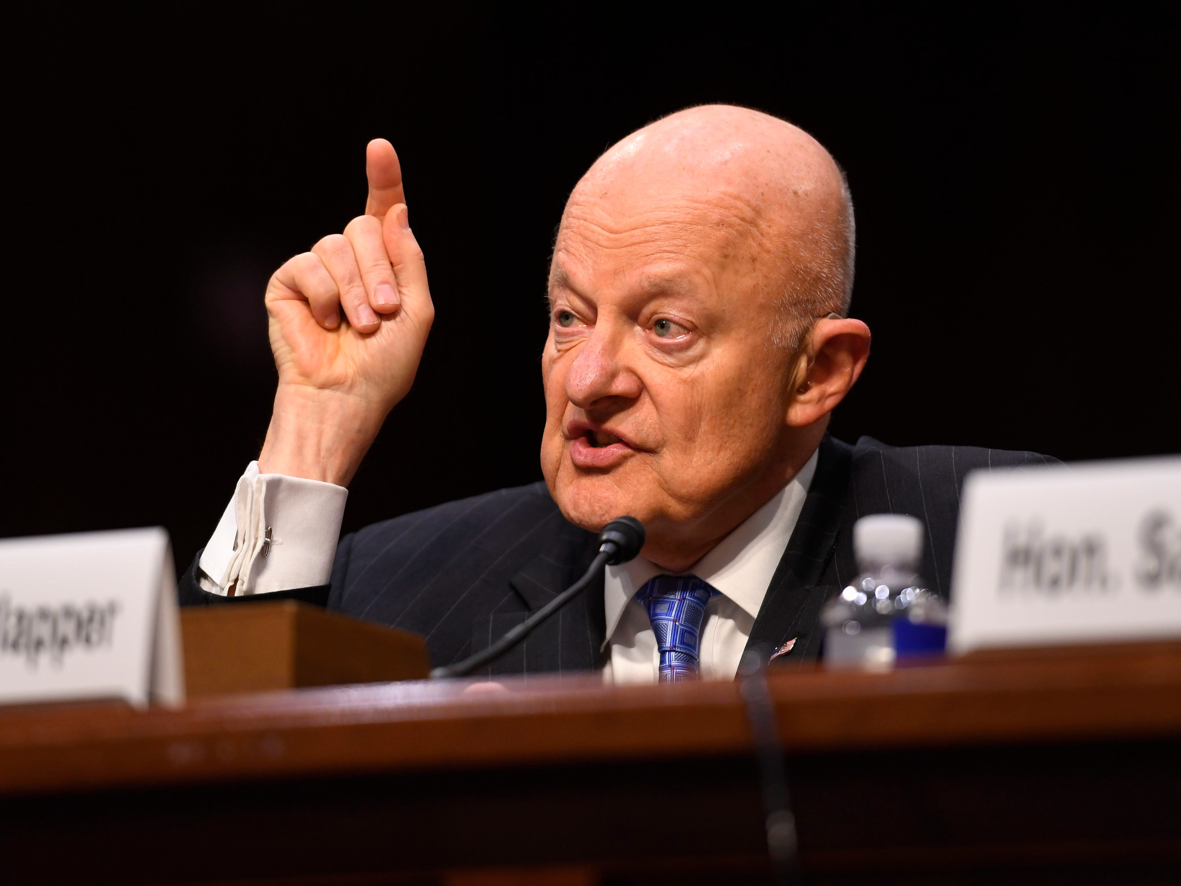 May 8, 2017; Washington, DC, USA; Former National Intelligence director James Clapper testifies on Capitol Hill before the Senate Judiciary subcommittee on Crime and Terrorism. Mandatory Credit: Jack Gruber-USA TODAY NETWORK ORIG FILE ID:  20170508_ajw_usa_090.jpg