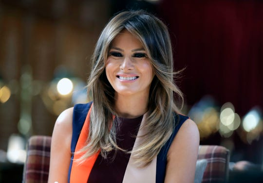 FIrst lady Melania Trump onJuly 13, 2018, in during visit to Royal Hospital Chelsea in London.