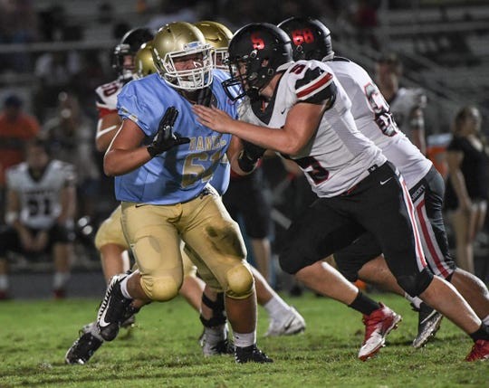 DW Daniel lineman Aaron Hester(61) and Liberty junior Luke Terry(5) during the fourth quarter at DW Daniel High School on Friday, August 17, 2018.