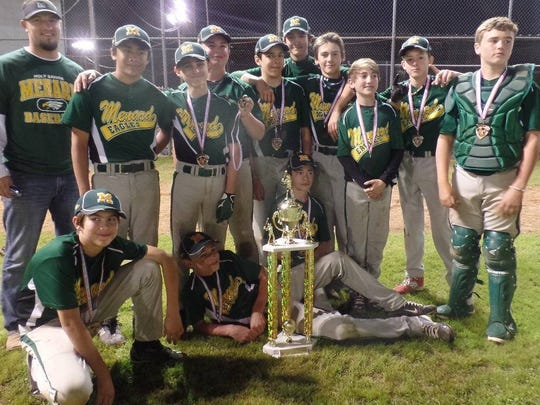 Jordan Marks (second row, first from left) coached the Menard Junior High baseball team to the state junior high baseball tournament in Pineville in 2015. Standing, from left, are Marks, Kaleb Zimmerman, Joseph Zeller, Austin Thiels, Bradley Bordelon, Jack DeKeyzer, Cameron Miguez, Jacob Whittle, Ben Beard and Neal Woodard. On the ground, from left, are Jude Hopewell, Charlie Wagner and Michael Hawthorne. Not pictured: Coach John Miguez.