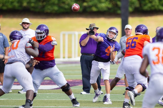 NSU senior quarterback Clay Holgorsen (4) was the intrasquad game's top passer, going 14 of 21 with 113 yards.