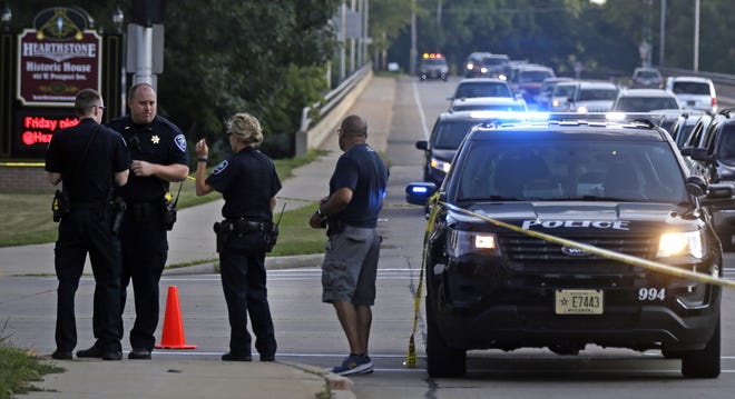 Appleton police investigate a drive-by shooting late Saturday afternoon at the intersection of West Prospect Avenue and South Memorial Drive.