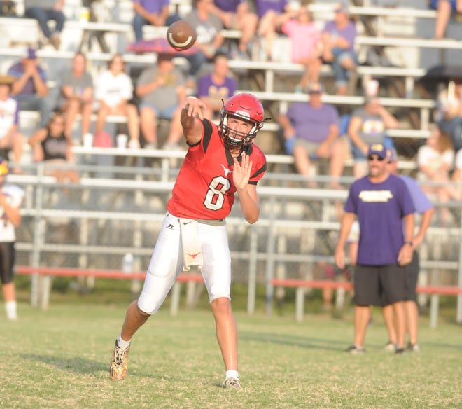 Eastland quarterback Behren Morton throws a pass during a scrimmage against Merkel Friday, Aug. 17 at Maverick Stadium.