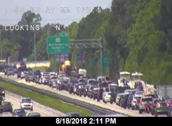 A crash at mile marker 179 on northbound I-95 has blocked the right lane and is backing up traffic.