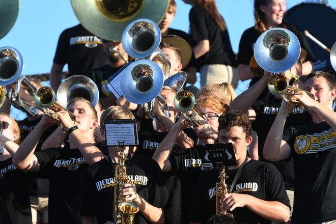 The Merritt Island band plays during Friday's game against Eau Gallie.