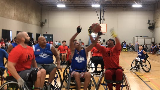 Nueces County Emergency Services Department # 2 and Alice Fire Department played against the Corpus Christi Rimz in a wheelchair basketball tournament to raise funds for the team's upcoming season.