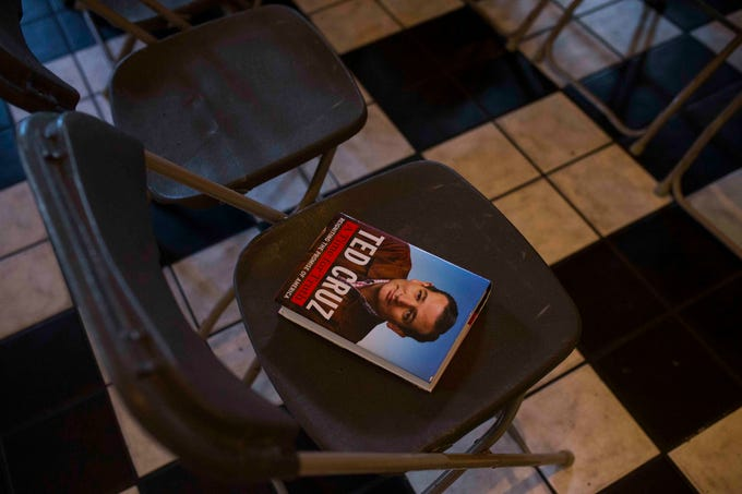 A Ted Cruz book sits on a seat at a campaign event on Saturday, August 16, 2018, at House of Rock in Corpus Christi.