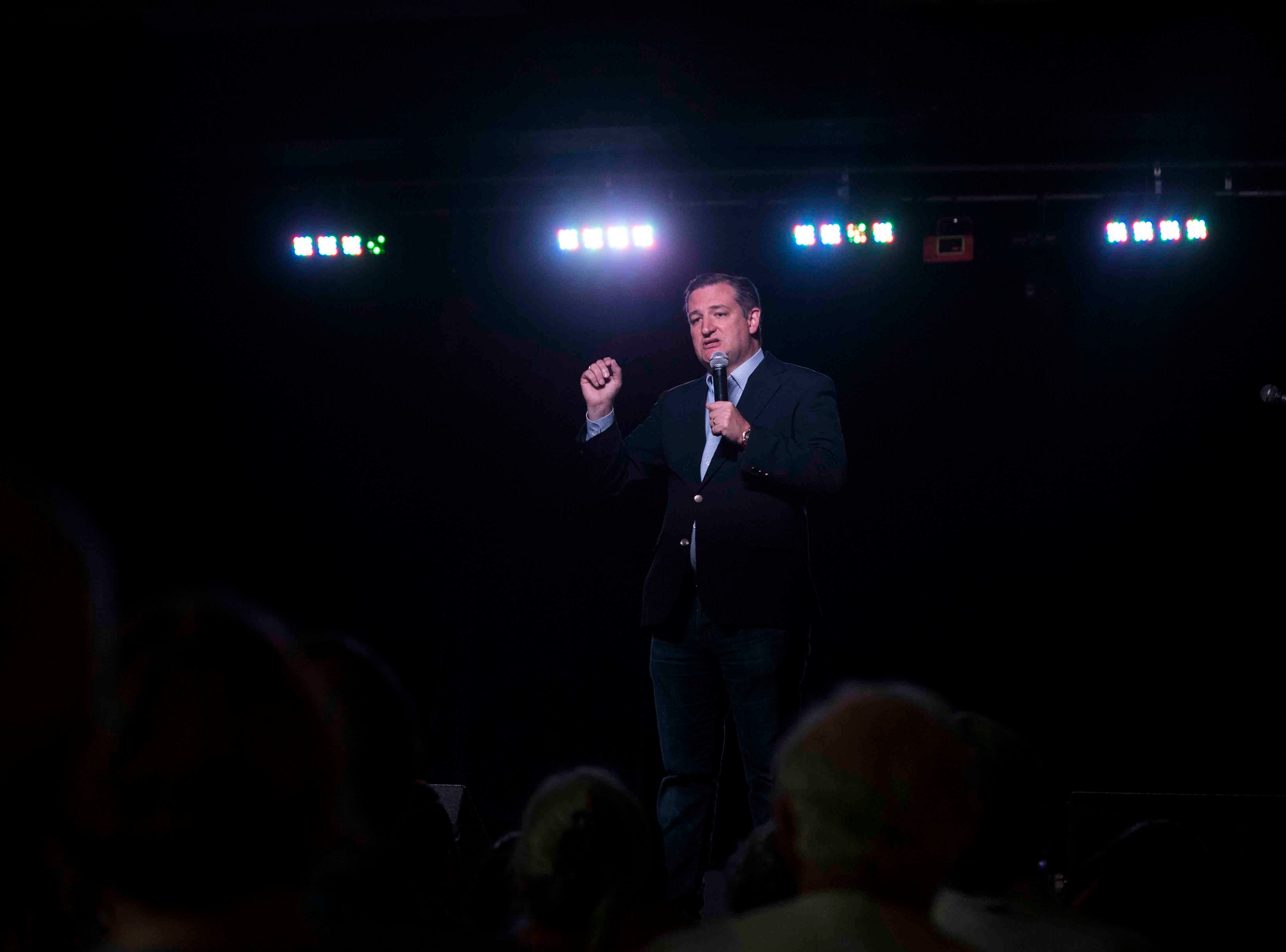 U.S. Senator Ted Cruz speaks to supporters during a campaign event on Saturday, August 16, 2018, at House of Rock.