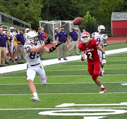 Brady Singleton (85) of Campbell County looks in a touchdown pass for the Camels as Dixie Heights' No. 2 can't catch up, August 17, 2018.