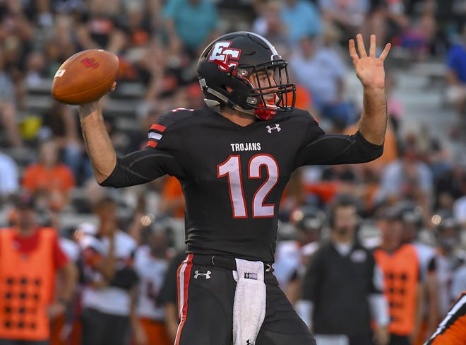 Alex Maxwell of East Central throws the ball against Lawrenceburg in the Skyline Chili Crosstown Showdown, St. Leon, IN, Aug. 17, 2018
