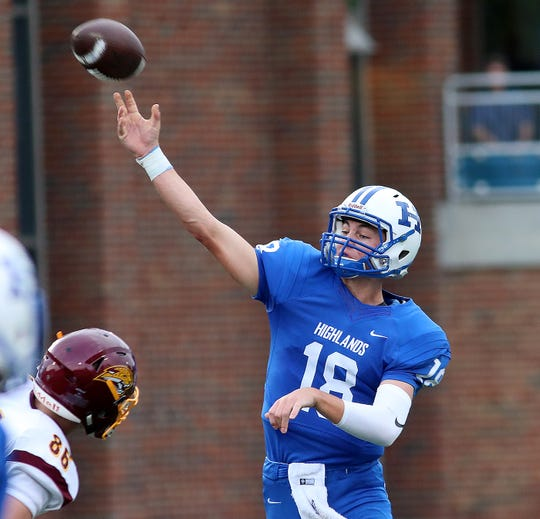 Highlands quarterback Grady Cramer passes the ball during Bluebirds' football game against Cooper, Friday, August, 17,2018.