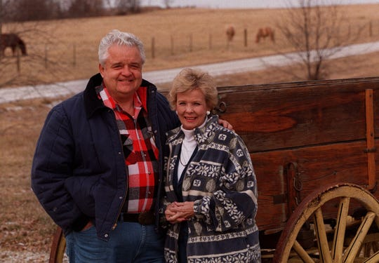 Leonard and Dody Boswell on their farm near Lamoni in December 1996.