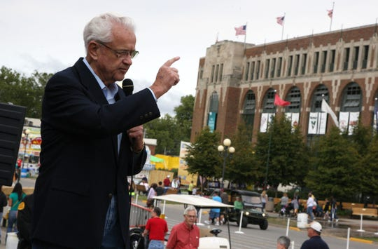 Rep. Leonard L. Boswell spoke at the Des Moines Register Political Soapbox in August 2012.