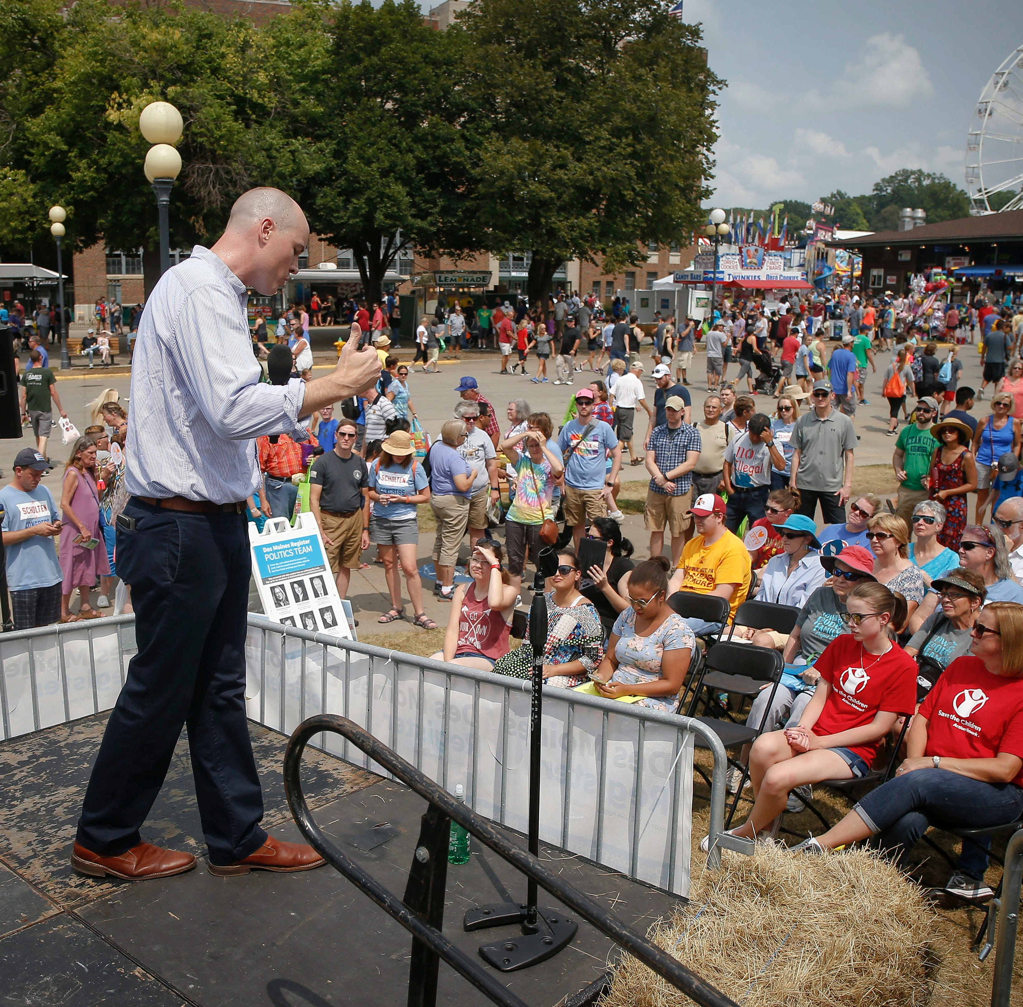 Democratic candidate J.D. Scholten focuses on tariffs, agriculture at Soapbox speech