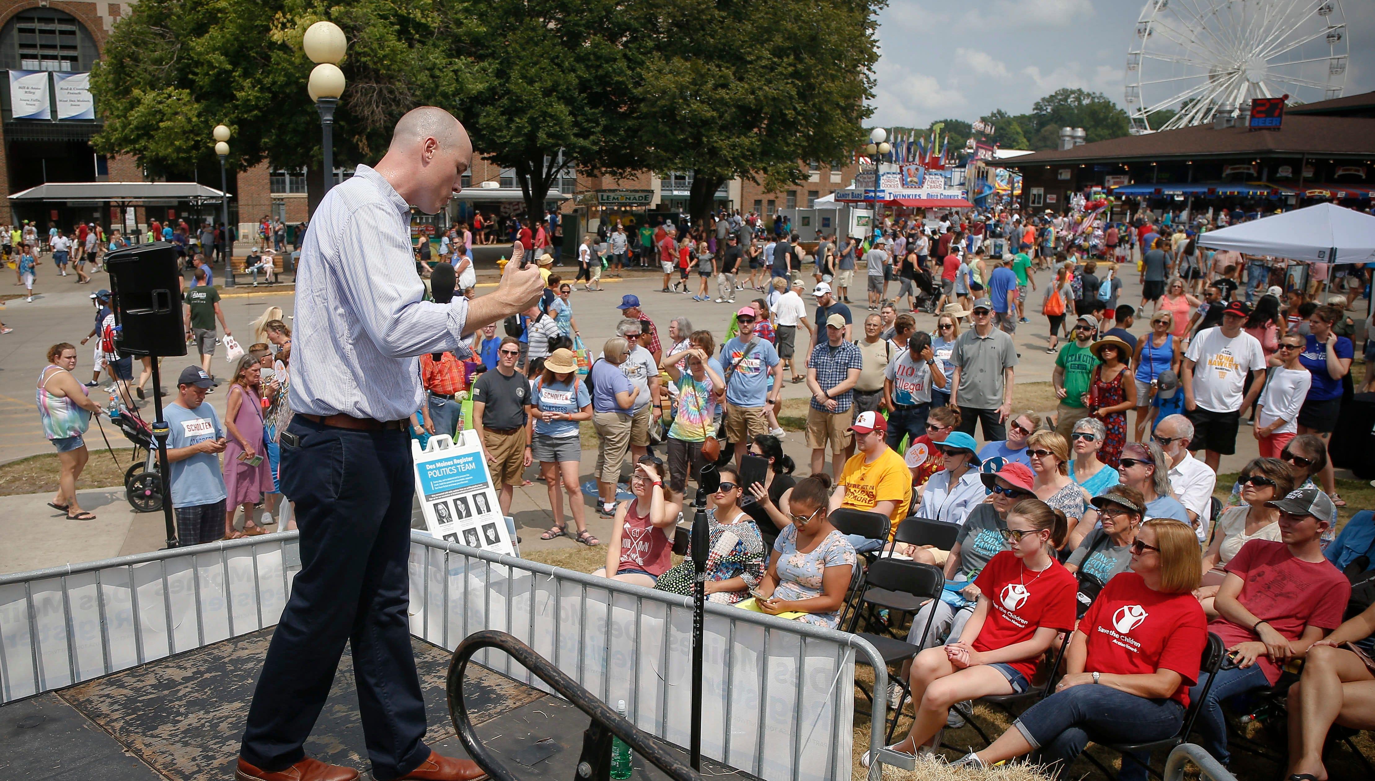 Democratic candidate J.D. Scholten focuses on tariffs, agriculture at Soapbox speech
