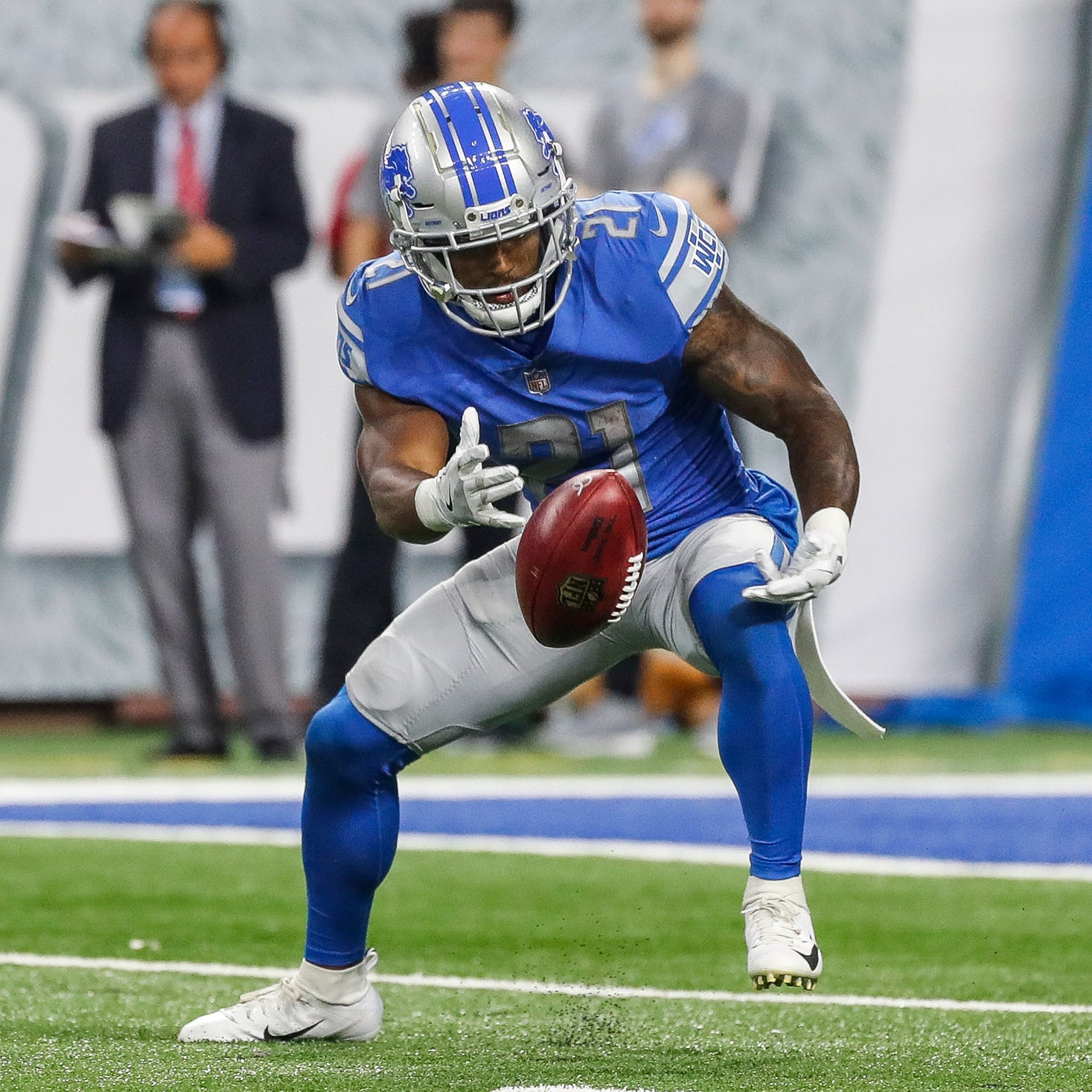 Detroit Lions RB Ameer Abdullah's ball security has 'improved a lot'