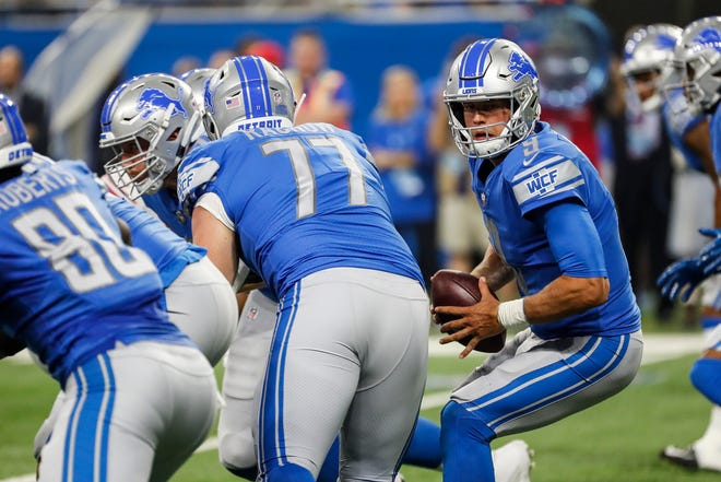 Lions quarterback Matthew Stafford during the first half of the preseason game against the Giants on Aug. 17.