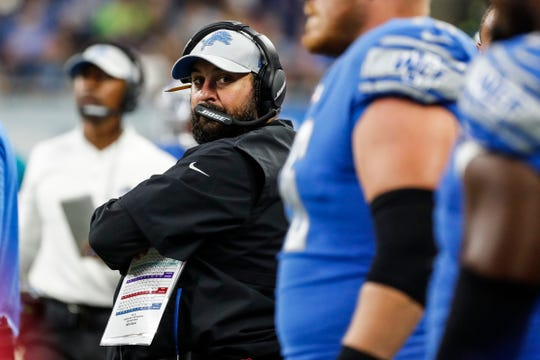 Detroit Lions head coach Matt Patricia watches the second half of the preseason game against New York Giants at Ford Field in Detroit, Friday, August 17, 2018.