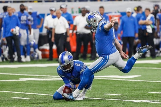 Lions kicker Matt Prater (5), center, attempts for a field goal during the first half of the preseason game against New York Giants at Ford Field in Detroit, Friday, August 17, 2018.