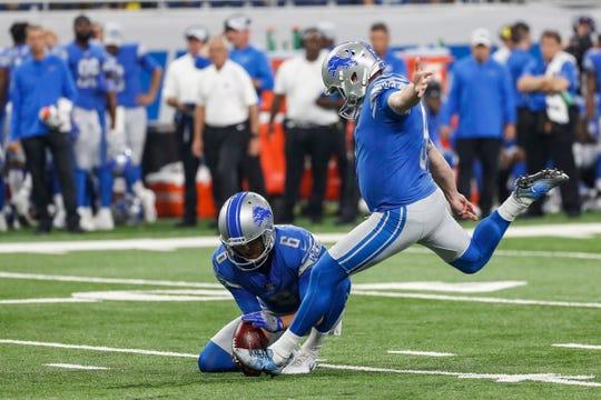 Lions kicker Matt Prater (5), center, attempts New York Giants at Ford Field, Detroit, Friday, August 17, 2018.