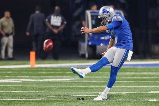 Lions punter Sam Martin (6) kicks off the ball during the first half of the preseason game against New York Giants at Ford Field in Detroit, Friday, August 17, 2018.