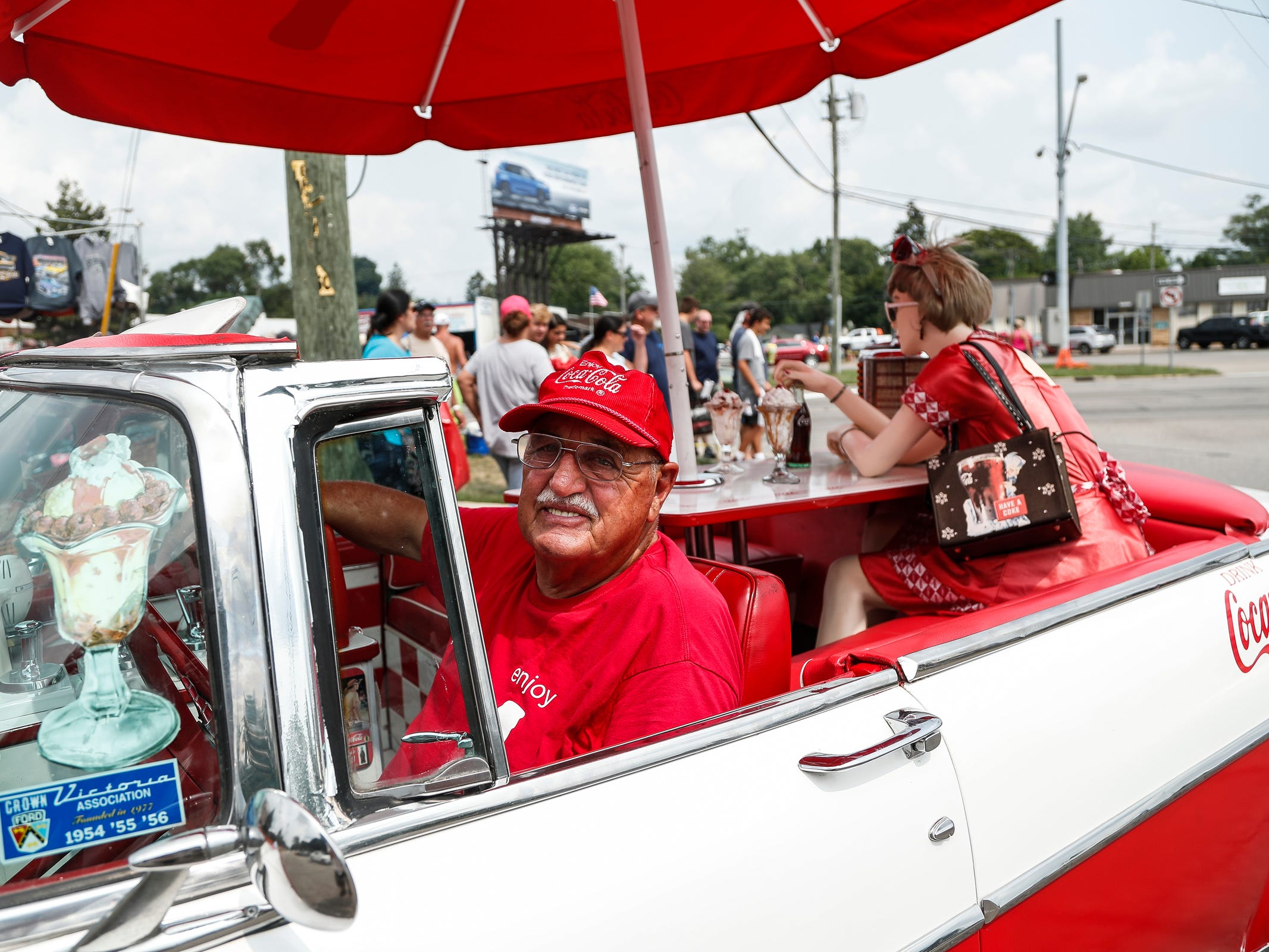 Bob Haas of South Lyon in his Coca-Cola themed 1955 Ford along Woodward Avenue in Royal Oak during Woodward Dream Cruise, Saturday, August 18, 2018.