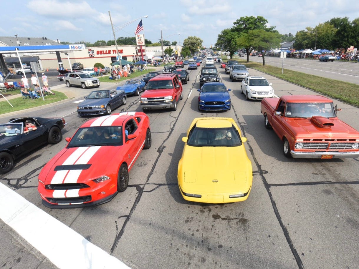 The southbound lane of Woodward Avenue is jammed at 13 Mile by mid-morning Saturday for the Woodward Dream Cruise.