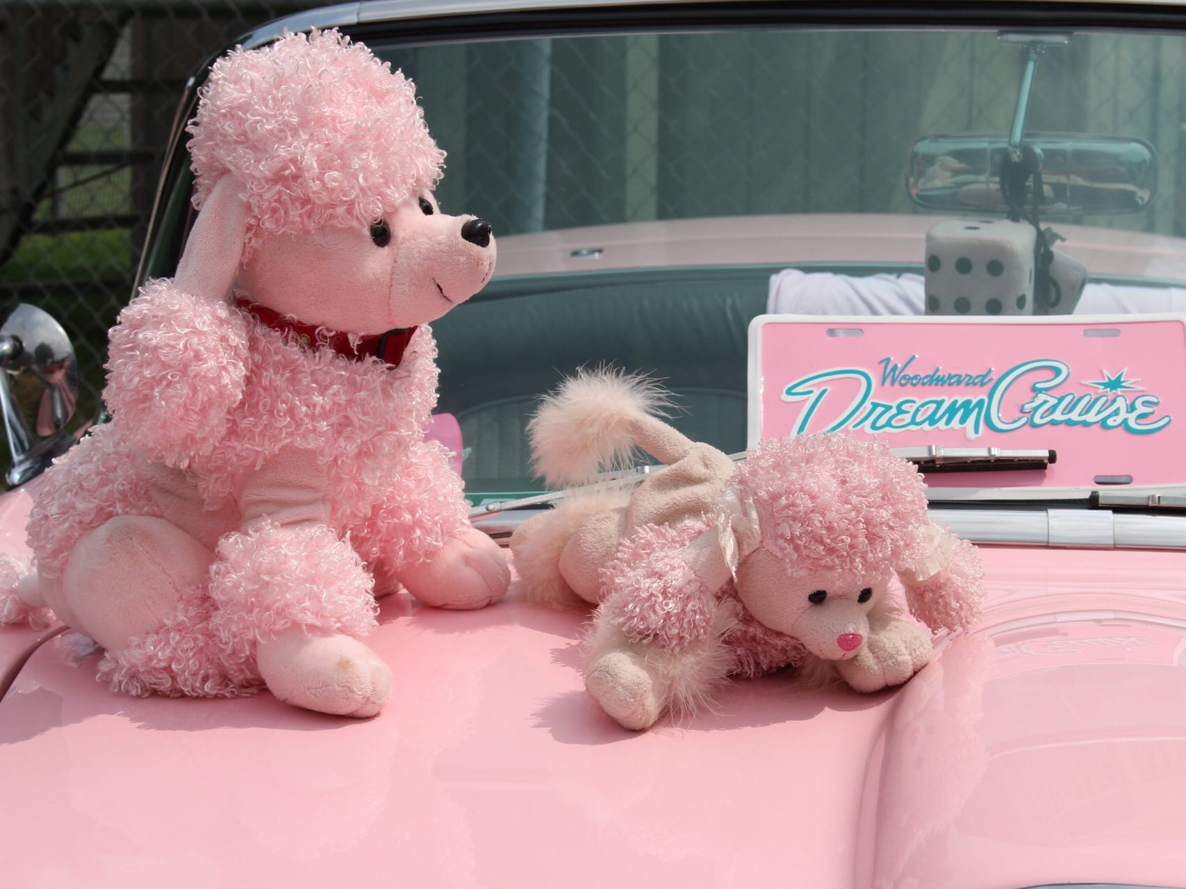 """There is a Barbie on the dash, a Lamb Chop puppet on the gear shifter and a few pink stuffed animals displayed on the hood. """"I let the little girls sit in it."""" Pat Wiegand. """"They get dragged here and donÕt want to come, but then they see it and they get excited."""""""